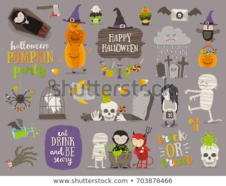 Foto d'archivio: Set · halloween · cartoon · oggetti · simboli · colorato