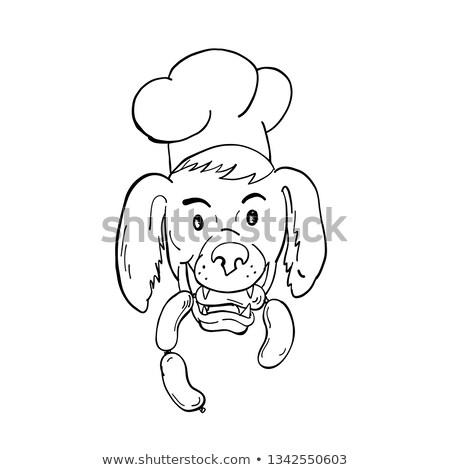 Chef Dog Biting Sausage String Cartoon Black and White Stock photo © patrimonio