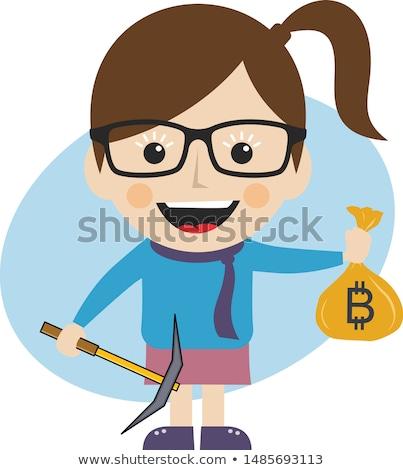 Stock fotó: Bitcoin · bányászat · valuta · vektor · művészet · illusztráció