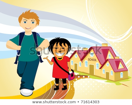 school house vector cartoon characters illustration red buildings stock photo © frimufilms