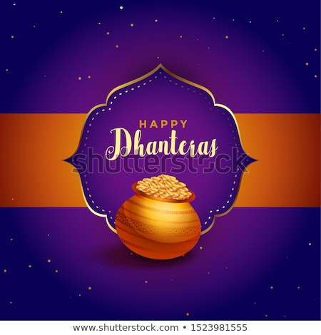 dhanteras festival card with golden pot kalash Stock photo © SArts