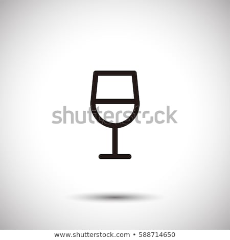 Glass of wine icon with shadow. Flat vector illustration Stock photo © Imaagio