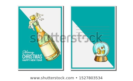 Christmas Greeting Card Vector. Champagne Bottle. Seasons. Winter Wishes. Holiday Concept. Hand Draw Stock photo © pikepicture