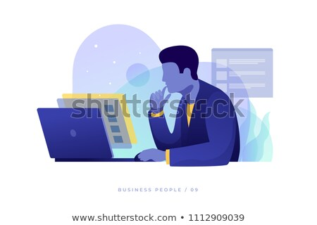 бизнесмен осторожно глядя финансовых данные силуэта Сток-фото © ConceptCafe