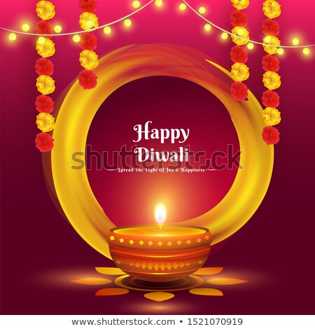 stylish happy diwali red banner with diya decoration stock photo © sarts
