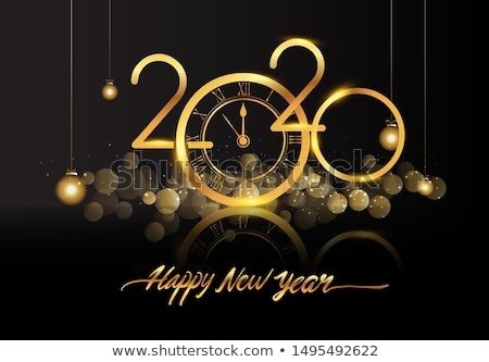 Happy New Year 2020 - New Year Shining background with gold clock and glitter, vector illustration. Stock photo © ikopylov
