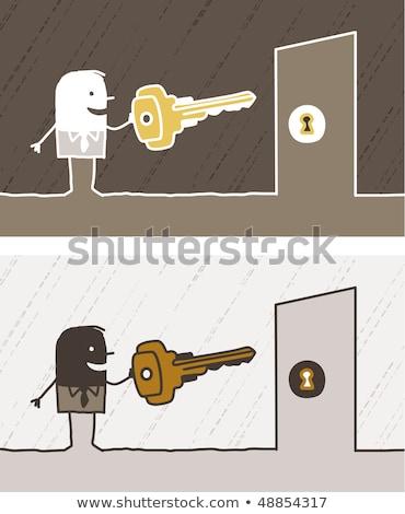 Cartoon cerrajero puerta profesional masculina Foto stock © Voysla