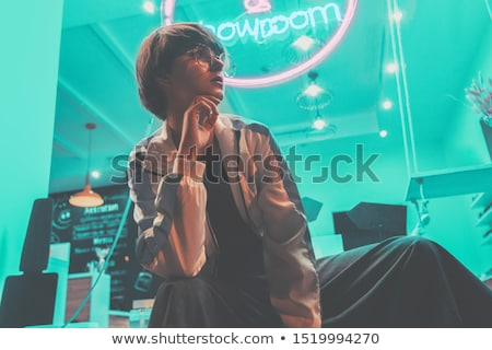 Fashion Teenager Girl in vintage sunglasses 80s 90s style party Stock photo © LoopAll