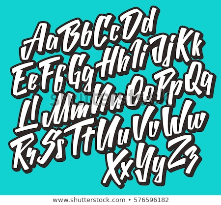 Hand graffiti doopvont decoraties vector alfabet Stockfoto © odes