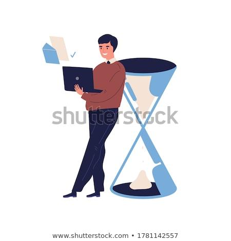 Planung Zeitplan Zeitmanagement Geschäftsmann Arbeit von zu Hause aus Stoppuhr Stock foto © -TAlex-