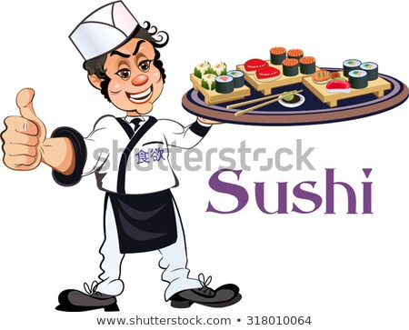 Rajz női szusi szakács illusztráció mosolyog Stock fotó © Voysla