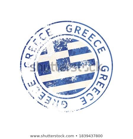 Görögország felirat klasszikus grunge lenyomat zászló Stock fotó © evgeny89