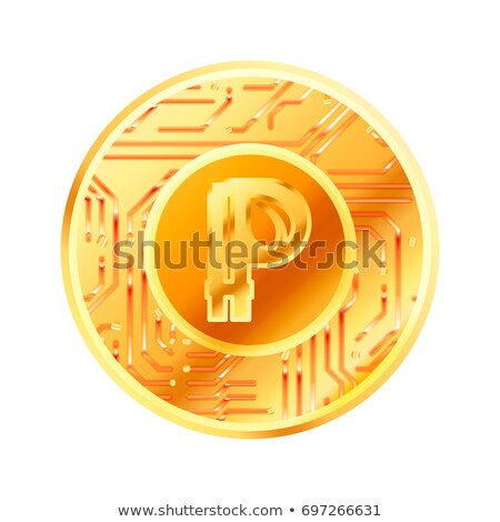 Bright golden coin with microchip pattern and Peercoin sign. Cryptocurrency concept on white Stock photo © evgeny89