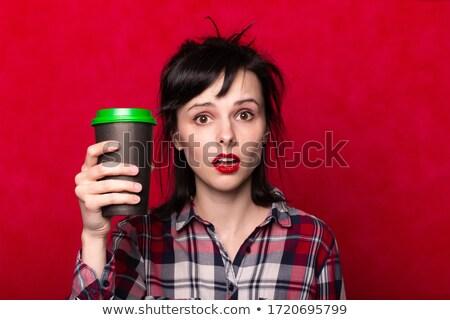 Lány kockás póló tart csésze cappucchino Stock fotó © ruslanshramko