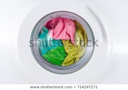 Lekeli pembe elbise çamaşır makinesi çamaşırhane temizlik Stok fotoğraf © AndreyPopov