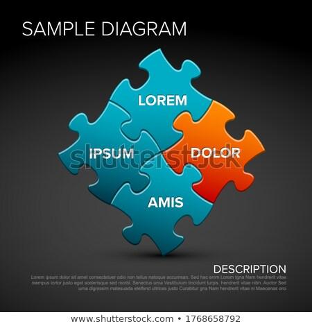 Vetor quebra-cabeça esquema diagrama azul Foto stock © orson