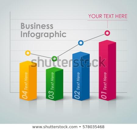 3D grafik 3d render çubuk grafik mavi ok Stok fotoğraf © ajn
