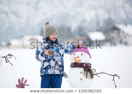 три · снеговик · девушки · улыбка · снега - Сток-фото © Paha_L