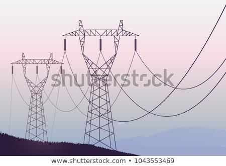 torres · alta · tensão · pôr · do · sol · nuvens · rede · indústria - foto stock © capturelight