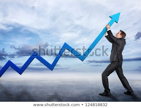 People pushing up the blue arrow Stock photo © 4designersart