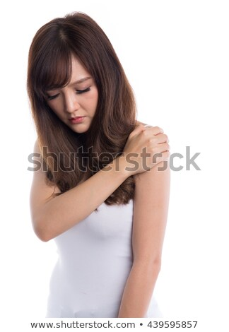 Stock photo: asian girl with painful neck muscles