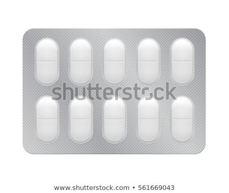 vermelho · pílulas · plástico · empacotar · doença · dor · de · cabeça - foto stock © neirfy