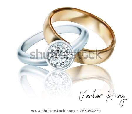Vektor arany jegygyűrűk gyémántok tavasz szeretet Stock fotó © Dahlia