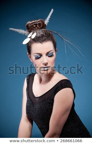close-up portrait of glamorous blue-eyed brunette with fringe Stock photo © photography33