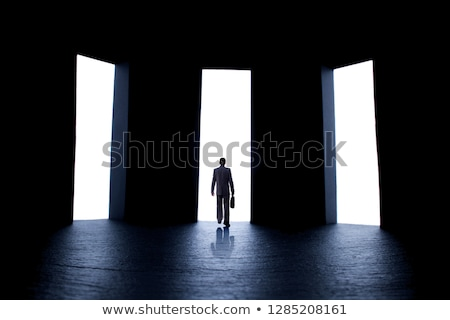 Man in front of three doors, doubtful Stock photo © texelart