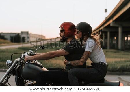 Motoros pár szeretet férfi bicikli portré Stock fotó © photography33