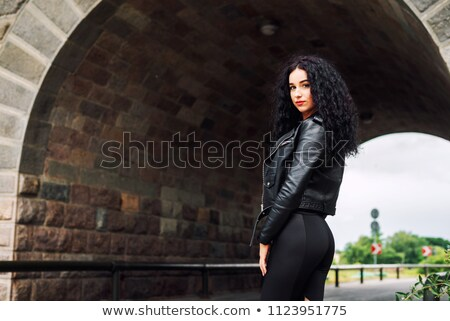 Brunette in leather jacket Stock photo © photography33
