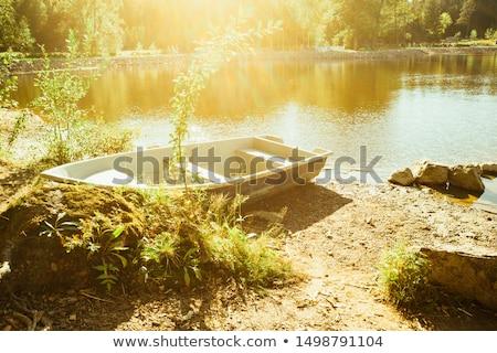 boot · dok · klein · meer · Rood · houten - stockfoto © haraldmuc