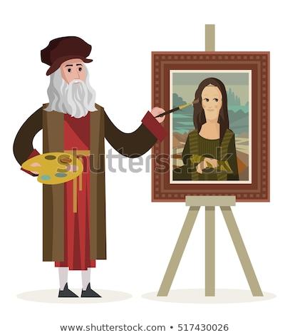 Festőállvány vektor rajz fa nők tájkép Stock fotó © pcanzo