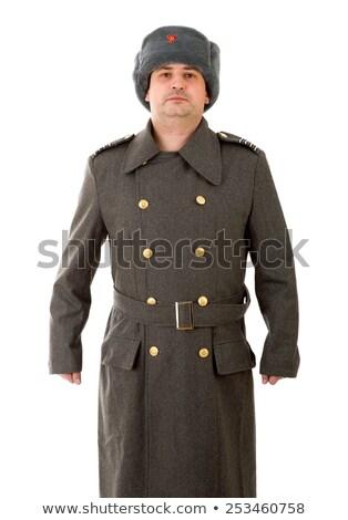 homem · soldado · sorrir · vermelho · estúdio · conselho - foto stock © photography33