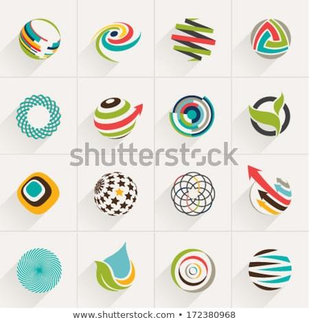 Stock fotó: Piros · stilizált · gömb · ikonok · papír · háttér