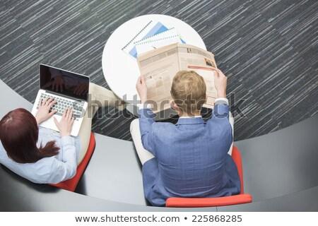 Stockfoto: Twee · zakenlieden · lezing · krant · nieuws · pak
