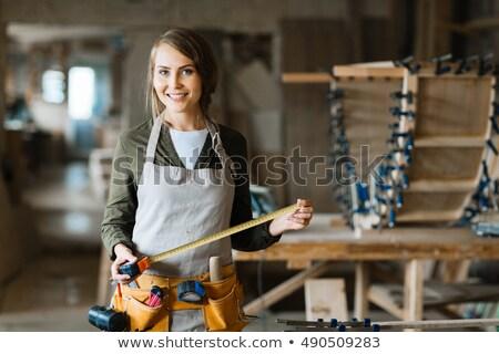 Jovem artesão fita métrica retrato capacete veja Foto stock © photography33