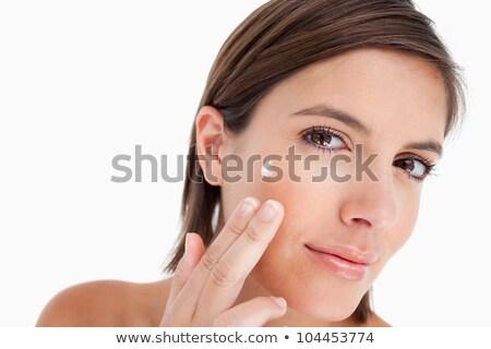 mulher · jovem · cabeça · lado · creme · cara - foto stock © wavebreak_media