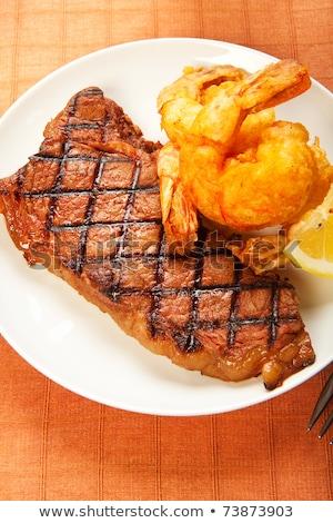 Steak with Jumbo Shrimp.  Stock photo © dacasdo