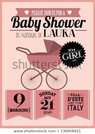 Stock photo: shower card with pram
