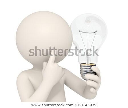 Zdjęcia stock: Mężczyzna · 3d · żarówka · odizolowany · biały · człowiek