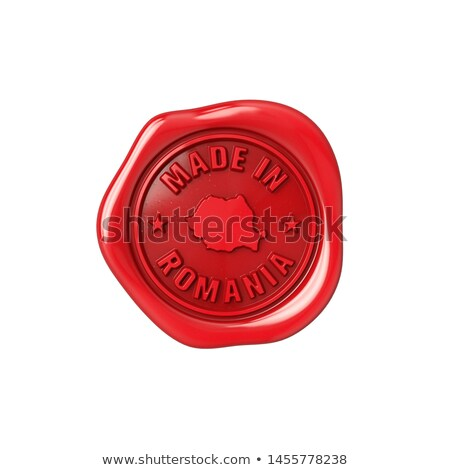 made in romania   stamp on red wax seal stock photo © tashatuvango