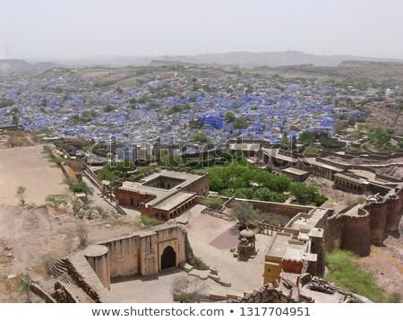 erőd · India · épület · város · fal · kék - stock fotó © faabi