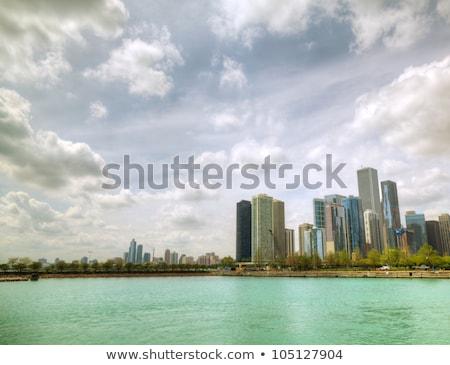 Stock fotó: Belváros · Chicago · napos · idő · tó · Michigan · iroda