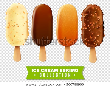 chocolate ice cream with nut on stick 3d illustration stock photo © loopall
