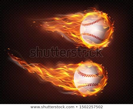 baseball · tűz · repülés · fekete · vektor · háttér - stock fotó © krisdog