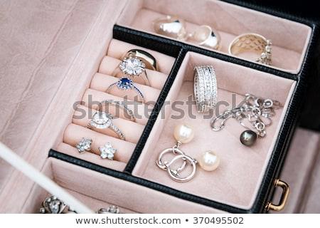 platina · ezüst · gyűrűk · gyémánt · fehér · magas - stock fotó © juniart