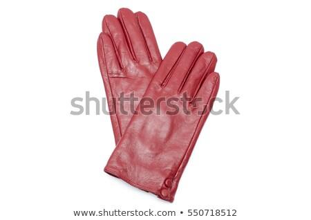 赤 革 手袋 ペア 白 ストックフォト © shanemaritch
