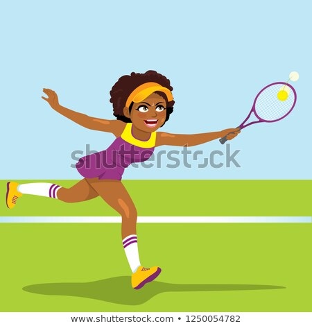 Black tennis woman hit ball with racket Stock photo © CandyboxPhoto