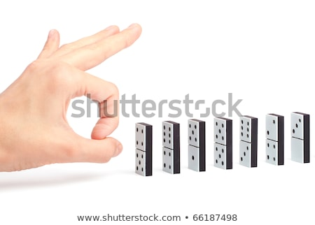 domino · kemik · el · siyah · beyaz · oyun - stok fotoğraf © michaklootwijk